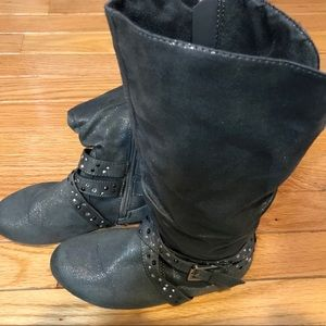 Justice boots with buckles & rhinestones